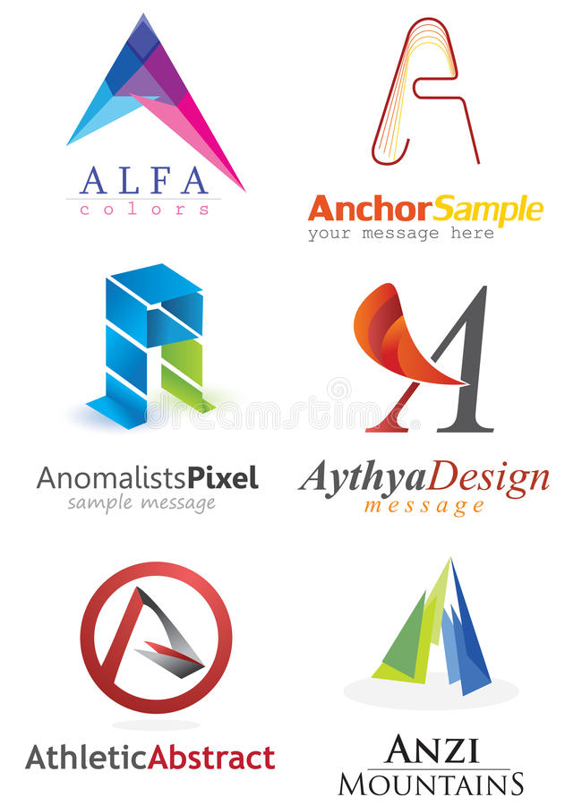 Letter A Logo. Alphabetical Logo Design Concepts. Letter A royalty free illustration