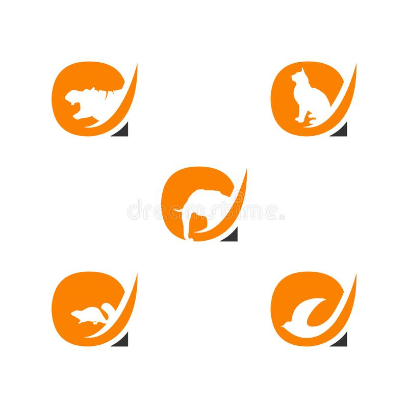 Letter A logo with animals negative space style design royalty free illustration