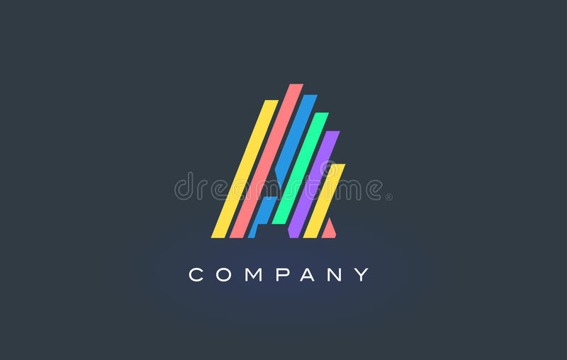 A Letter Logo with Colorful Lines Design Vector. Rainbow Letter royalty free illustration