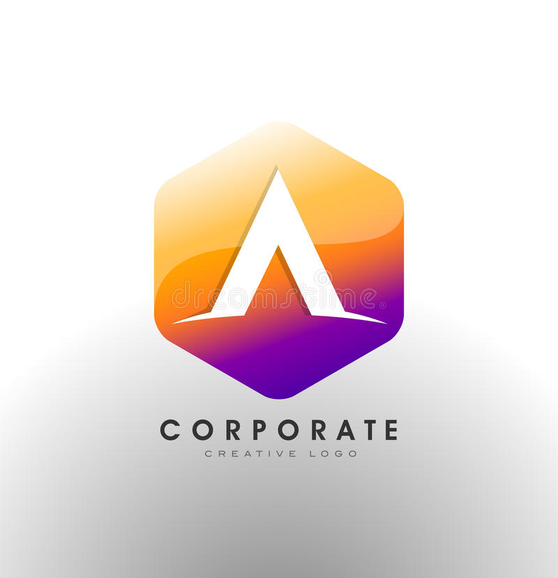 Letter A Logo. Corporate Hexagon With letter A inside stock illustration