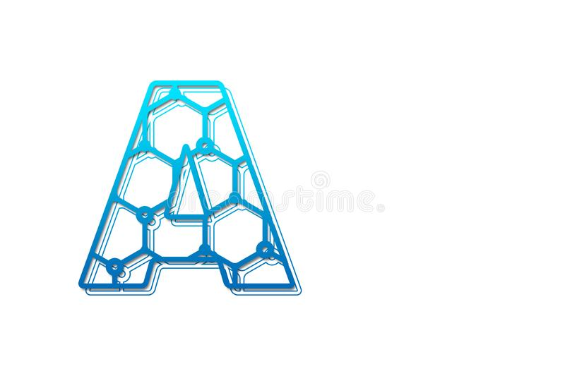 Letter A logo design template with hexagon shape. Line art logo type design concept of Abstract technology logo vector illustration