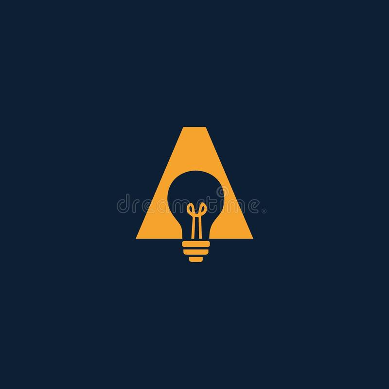 Letter A logo With a Lamp royalty free illustration