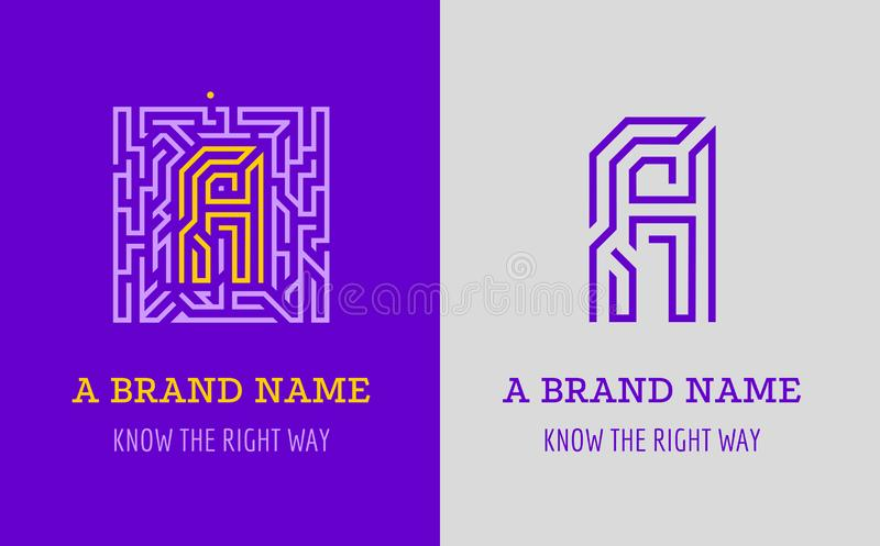 A letter logo maze. Creative logo for corporate identity of company: letter A. The logo symbolizes labyrinth, choice of right path. Solutions royalty free illustration