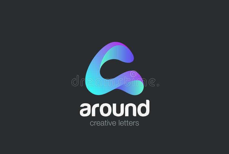 Letter A Logo ribbon design vector. Friendly Techn stock illustration
