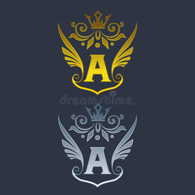 A letter logo. Silver and gold wings symbol. Silver A letter logo template for air company.eps8,eps10 vector illustration