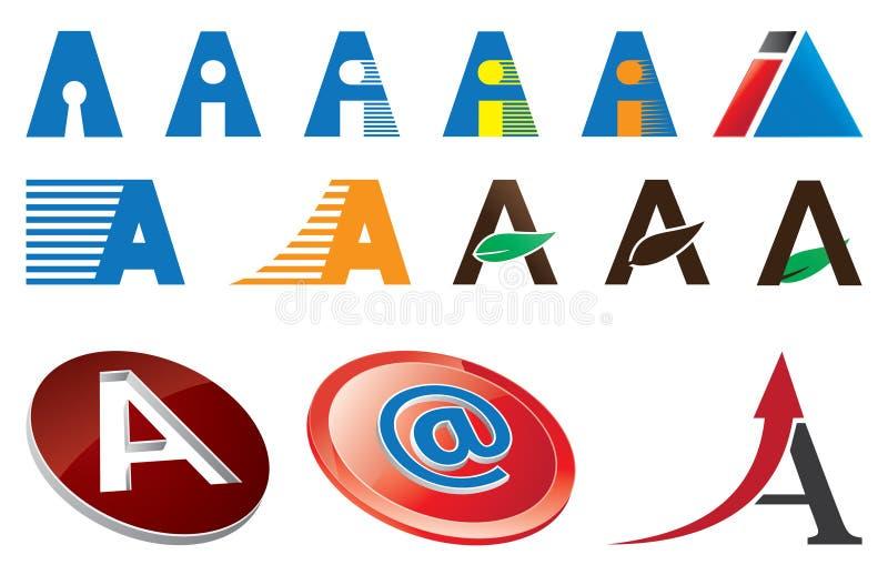 Letter A Logo Template. Set of letter A Logo Template stock illustration