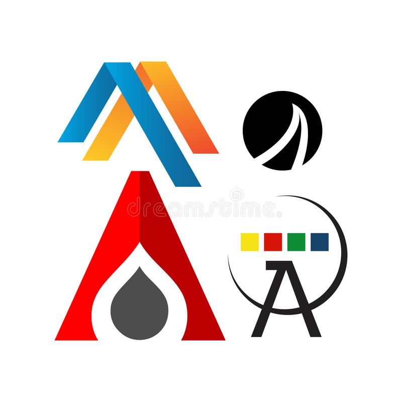 Letter A Logos a Modern triangle logo vector inspirations. Design, icon, creative, template, symbol, abstract, shape, font, business, illustration, alphabet royalty free stock image