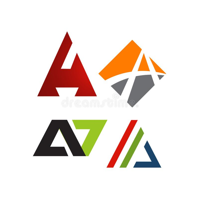 Letter A Logos a Modern triangle logo vector inspirations. Design, icon, creative, template, symbol, abstract, shape, font, business, illustration, alphabet royalty free stock photography