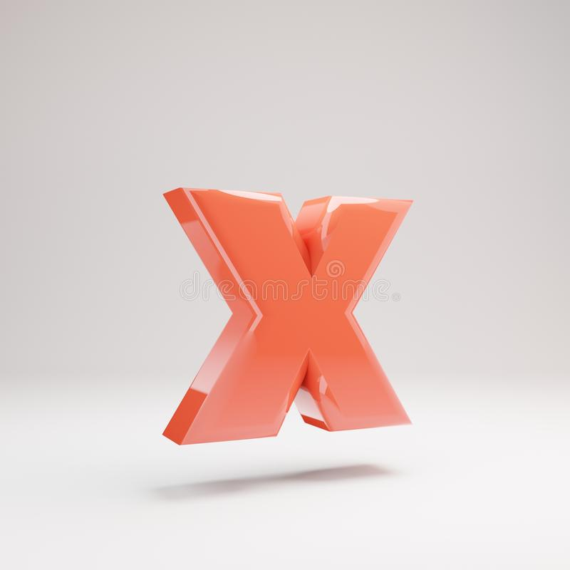Letter X lowercase. Living Coral font with glossy reflections and shadow isolated on white background royalty free stock photos