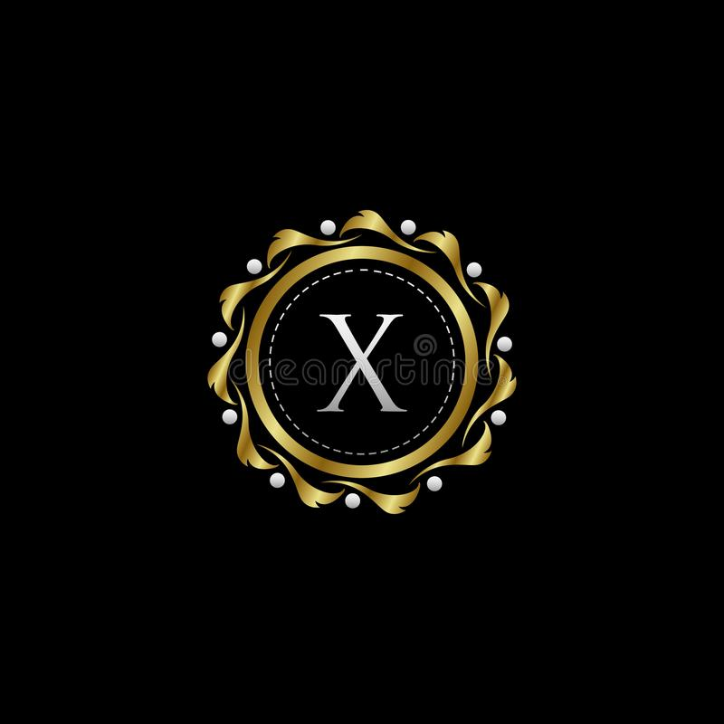 Letter X Luxury Boutique Circle Badge Template Logo. Vector, suitable with classy and vintage theme stock illustration