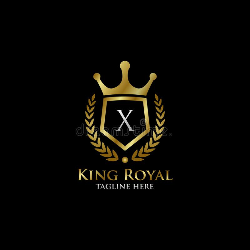 Initial X Luxury Shield Royal Logo. Letter X Luxury Shield Royal Logo , classy Elegant Logo with gold color in black background royalty free stock photo