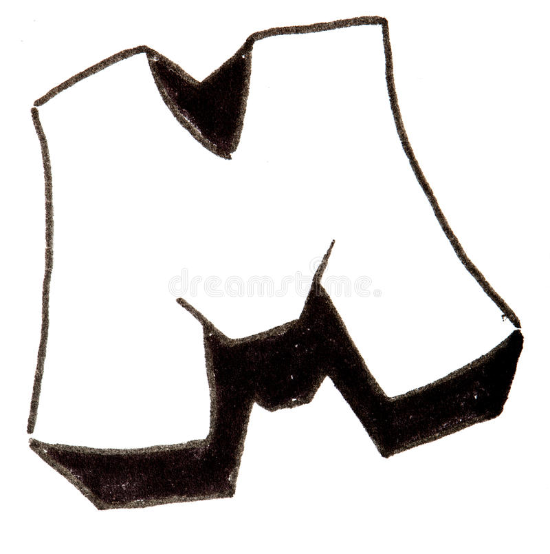 Letter M, Alphabet in graffiti style. Alphabet painted in graffity style with a black fibretip pen royalty free stock photo