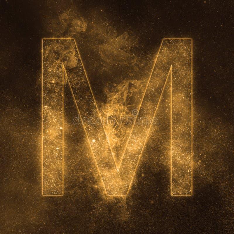 Letter M alphabet symbol. Space Letter, Night Sky Letter. Space letters royalty free illustration