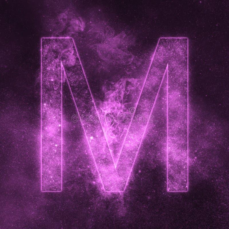 Letter M alphabet symbol. Space Letter, Night Sky Letter. Space letters vector illustration