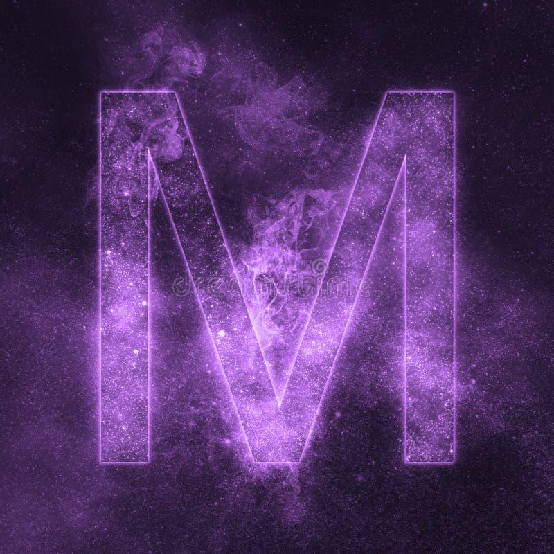 Letter M alphabet symbol. Space Letter, Night Sky Letter. Space letters stock illustration
