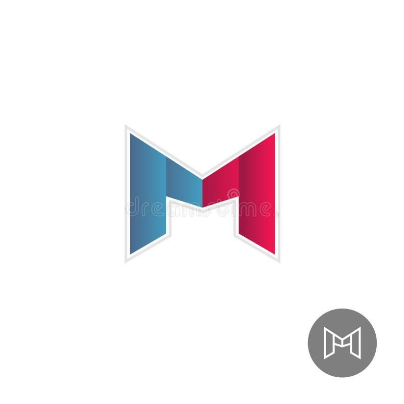 Letter M colorful ribbons logo royalty free illustration