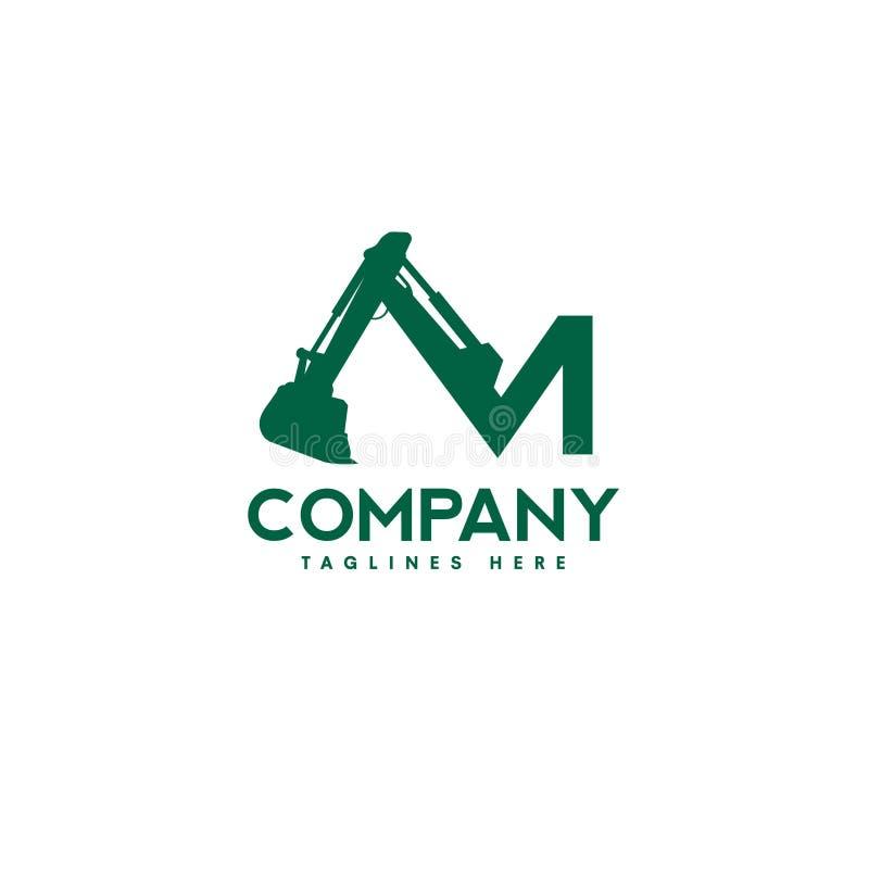 Letter M Excavators Construction machinery logo. Special equipment, Excavators, crane, Logo Flat style vector illustration
