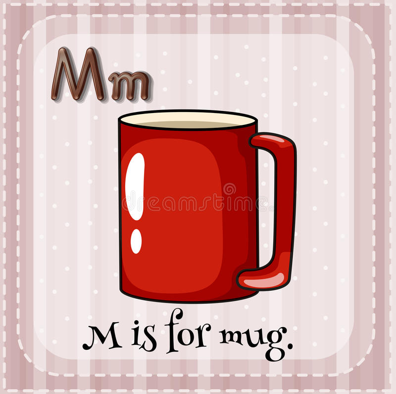 Letter M. Flashcard alphabet M is for mug stock illustration
