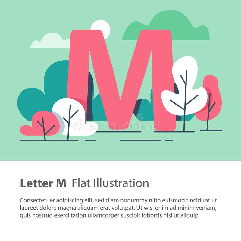 Decorative alphabet, letter M in floral background, park trees, simple font, education concept. Letter M in floral background, park trees, decorative alphabet stock illustration