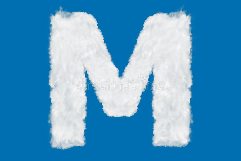Letter M font shape element made of clouds on blue. Background over sky stock image