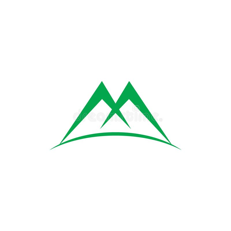 Letter m green mountain logo vector. Symbol of natural concept vector illustration