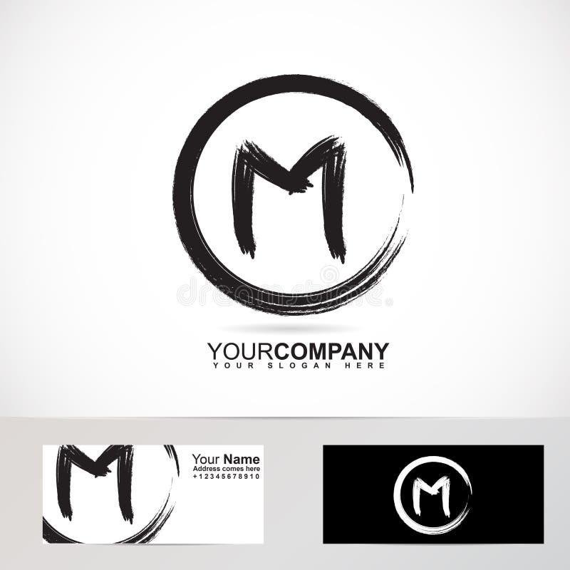 Letter M Grunge Circle Logo Stock Vector