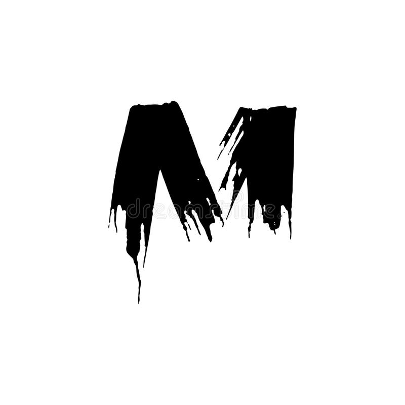 Download Letter M Handwritten By Dry Brush Rough Strokes Font Vector Illustration