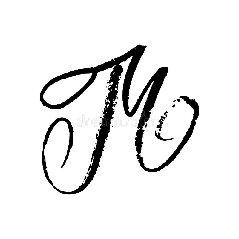 Download Letter M Handwritten By Dry Brush Rough Strokes Textured Font Vector Illustration