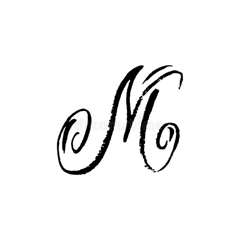 Letter M. Handwritten by dry brush. Rough strokes textured font. Vector illustration. Grunge style elegant alphabet. Letter M. Handwritten by dry brush. Rough vector illustration