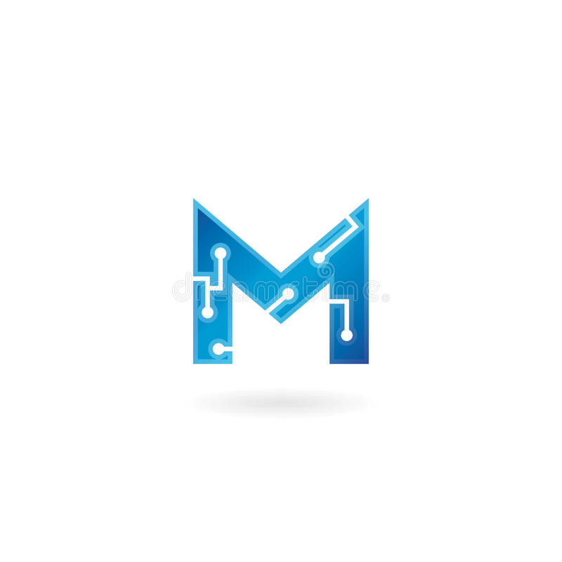 Letter M icon. Technology Smart logo, computer and data related business, hi-tech and innovative, electronic. royalty free illustration
