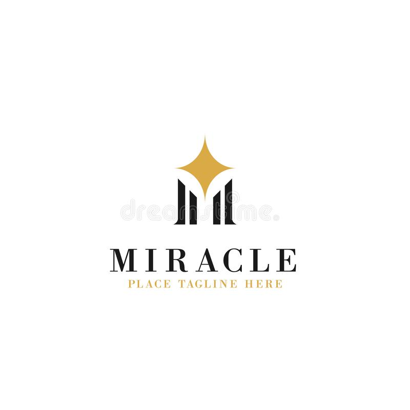 Letter m initial with sparkle star illustration for miracle concept logo template vector design royalty free illustration