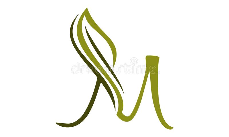 Letter M with Leaf Icon royalty free illustration