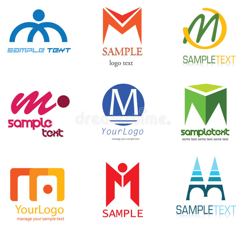 Letter M Logo. Alphabetical Logo Design Concepts. Letter M stock illustration