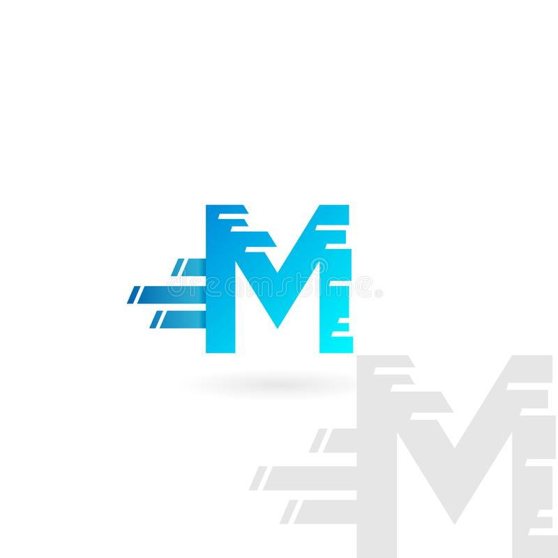 Letter M logo. Blue distorted vector icon. Speed concept font. Letter M logo. Blue distorted vector icon. Speed concept font royalty free illustration