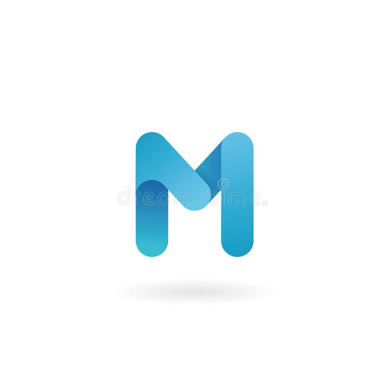 Letter M logo. Blue icon. Ribbon styled font. stock illustration