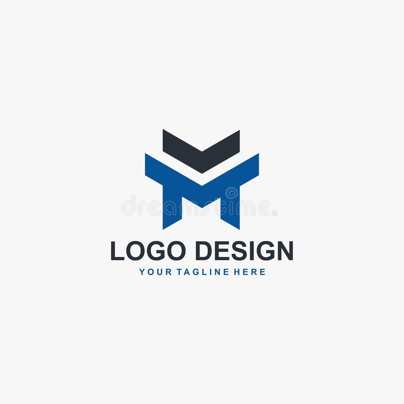 Letter M logo design, M sign template, M text illustration design vector. Abstract text logo design concept for business company. vector illustration