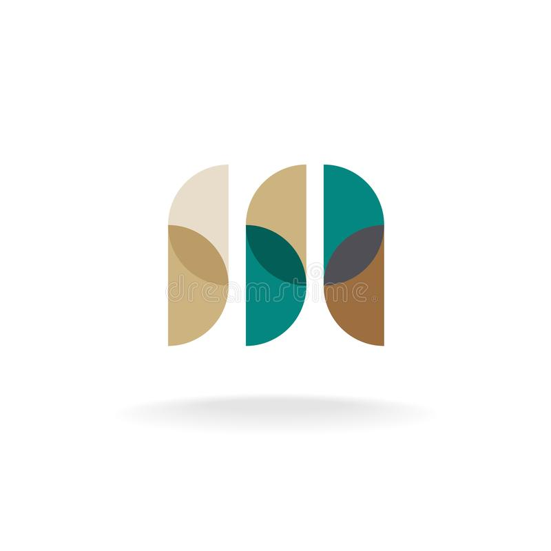Letter M logo. Letter M overlay style logo. Transparen circle particles design. Flattened transparency vector illustration