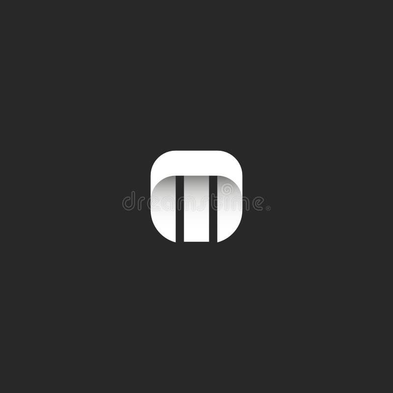 Letter M logo minimal style identity mockup, mark hipster monogram emblem template, smooth geometric simple shape, sleek stripe royalty free illustration
