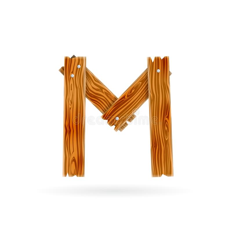 Letter M logo. Rough wooden plank icon. Isolated vector rustic concept. vector illustration