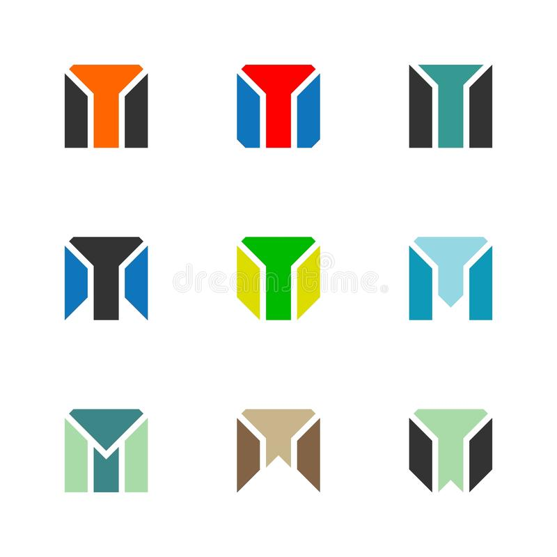 Letter M logo - Letter TM / MT logo - Square Set vector illustration