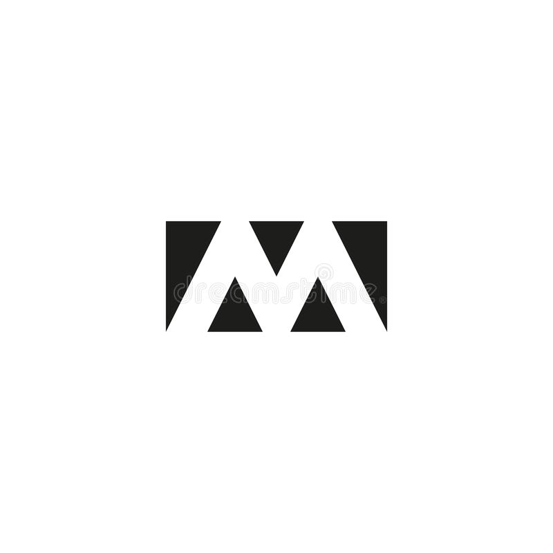 Letter M logo web icon, black and white rectangle geometric shape from triangles emblem, strict limits form. Letter M logo web icon black and white rectangle vector illustration