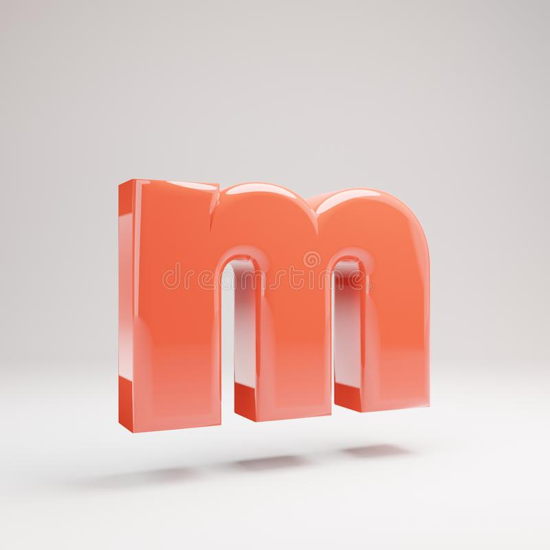 Letter M lowercase. Living Coral font with glossy reflections and shadow isolated on white background stock photos