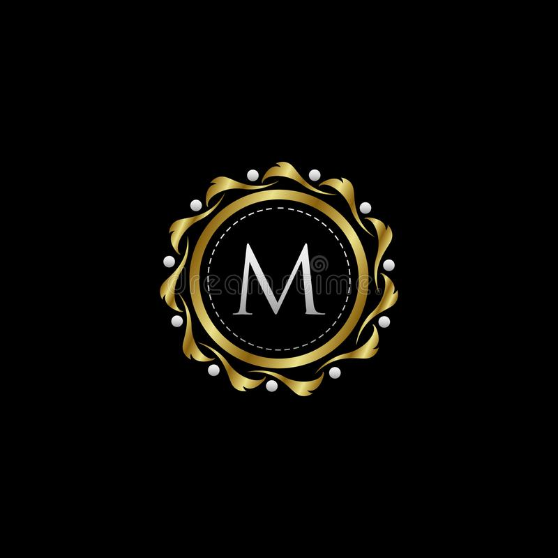 Letter M Luxury Boutique Circle Badge Template Logo. Vector, suitable with classy and vintage theme royalty free illustration