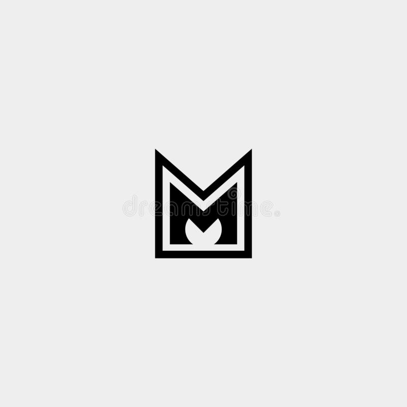 Letter M AM MA MM Monogram Logo Design Minimal. Icon With Black Color, simple, badge, vector, emblem, line, graphic, symbol, vintage, element, outline, set royalty free illustration