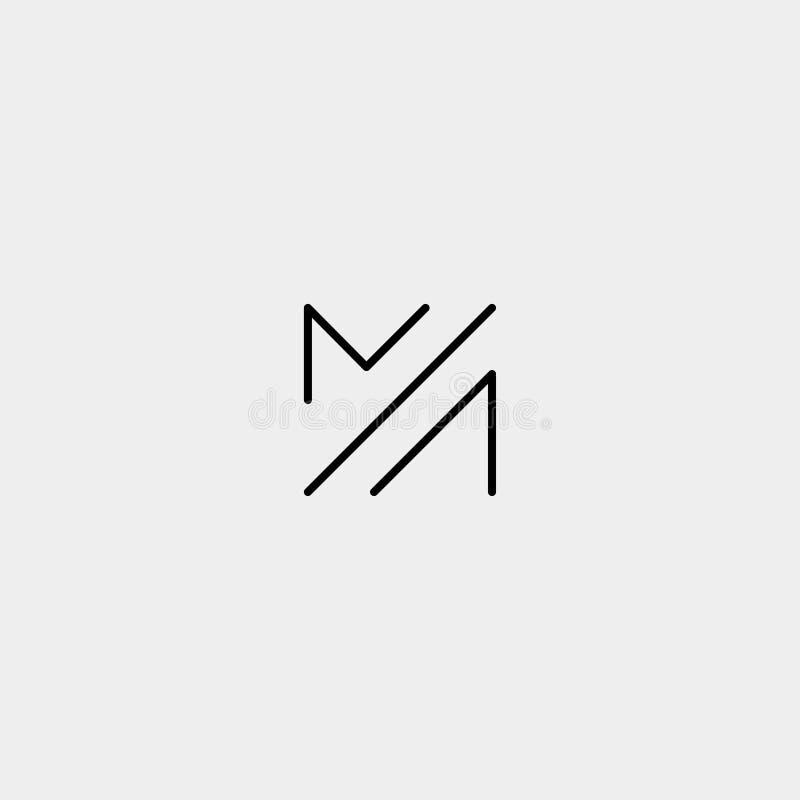 Letter M MM Monogram Logo Design Minimal. Icon With Black Color, simple, fashion, badge, vector, emblem, line, thin, graphic, beauty, symbol, vintage, element stock illustration
