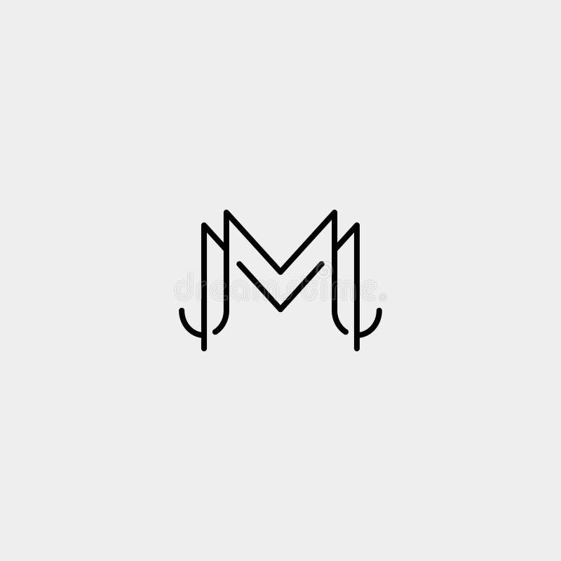 Letter M MM Monogram Logo Design Minimal. Icon With Black Color, simple, fashion, badge, vector, emblem, line, thin, graphic, beauty, symbol, vintage, element royalty free illustration