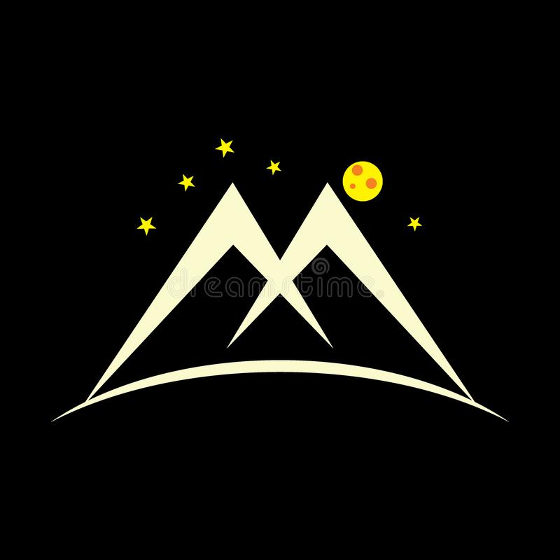 Letter m night mountain design logo vector. Unique unusual concept with natural touch stock illustration