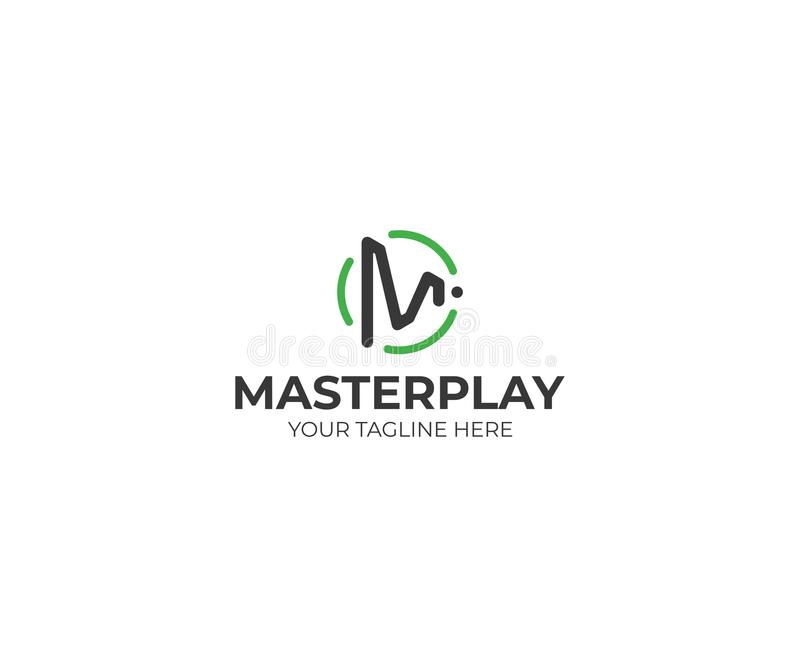 Letter M Play Symbol Logo Template. Play Button Vector Design royalty free illustration