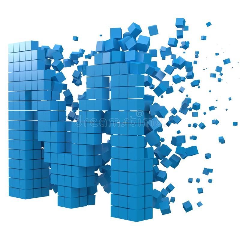 Letter M shaped data block. version with blue cubes. 3d pixel style vector illustration. Suitable for blockchain, technology, computer and abstract themes vector illustration