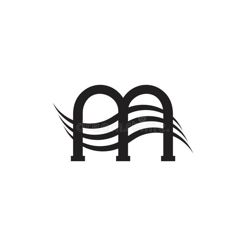 Letter m stripes flow logo vector. Unique unusual luqury simple design concept royalty free illustration